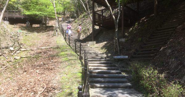 湖畔の駐車場からの階段
