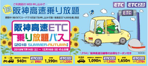 2018年夏秋、阪神高速ETC乗り放題パス