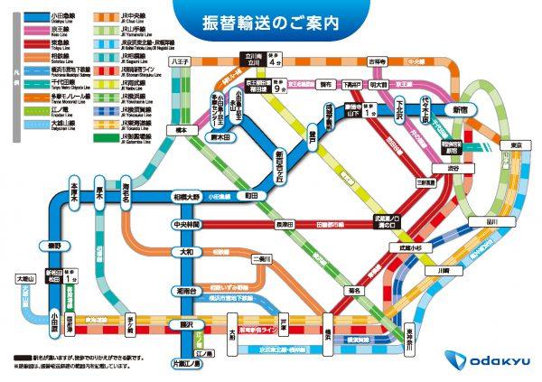 小田急電鉄振替輸送マップ